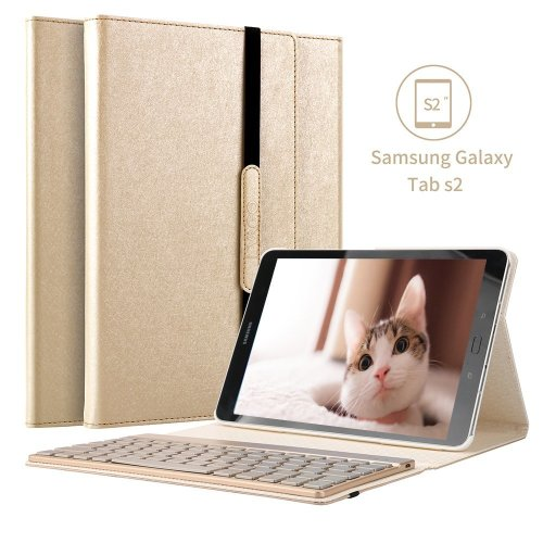 Galaxy Tab s2 9.7 Case, 7 Colors Backlight Detachable Backlit Keyboard Case Gold