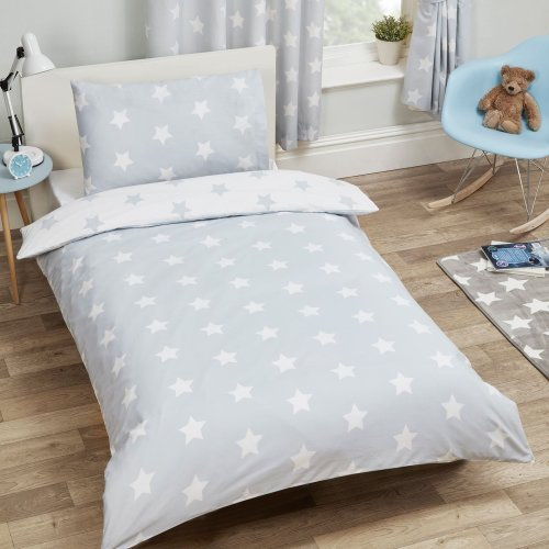 Price Right Home Grey and White Stars Junior Duvet Cover and Pillowcase Set Toddler Bedding New
