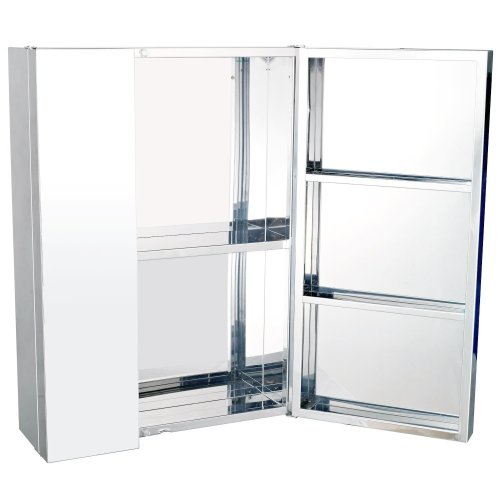 Homcom Stainless Steel Bathroom Mirror Cabinet