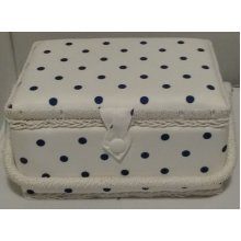 HobbyGift Medium Sewing basket - White with Navy Spot - 26.5 x 19.5 x 14cm