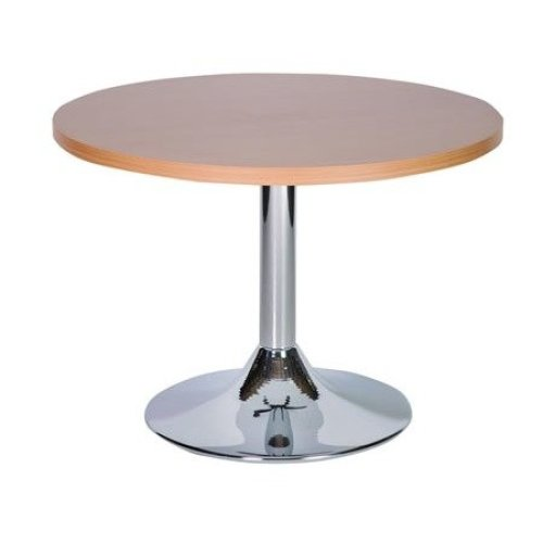 Ramizon Coffee Table Chrome and Wood - Commercial Quality  Oak 70cm Round