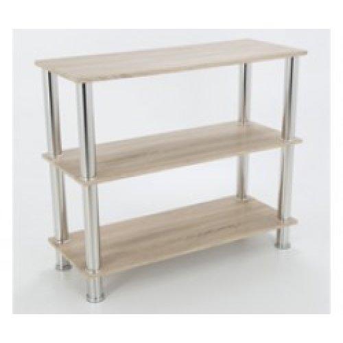 King Whitewashed Oak Effect 3 Tier Modern Organisation Rack, Shelving Shelf Unit