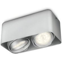 Philips myLiving LED Cube Spotlight Afzelia 2x4.5 W Silver 532024816