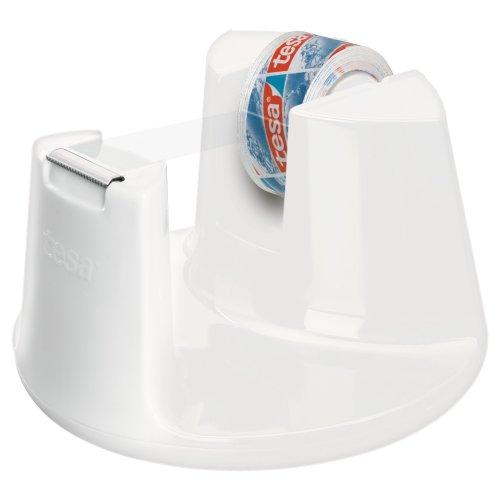 tesa 53837-00000-00 Tape Dispenser Compact Plus 1 Free Roll of Film Crystal, White, 10 m x 15 mm