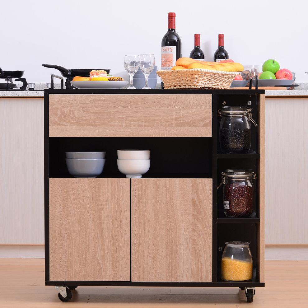 Wondrous Homcom Rolling Kitchen Storage Trolley Cart Cupboard Island Cabinet Shelves 2 Handle With Locking Wheels Home Remodeling Inspirations Propsscottssportslandcom