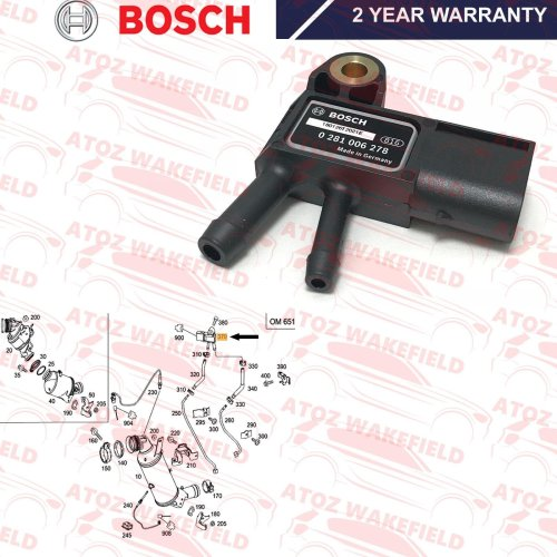 FOR VARIOUS MERCEDES BENZ DPF EXHAUST PRESSURE SENSOR GENUINE BOSCH A0061539528