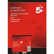 5 Star OHP Film Plain Copier 100 Micron Paper-backed [Pack of 100]