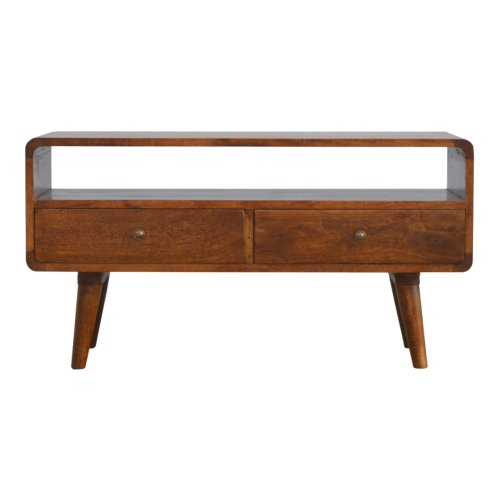 Phenomenal Curved Wooden Media Unit With Two Drawers Mango Wood Tv Unit Download Free Architecture Designs Grimeyleaguecom