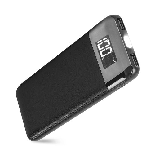 ARIO®18000mAh PU Leather Case PowerBank for all mobile phones (Black)