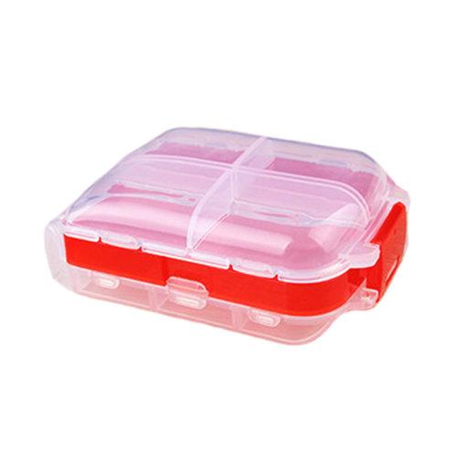 Pill Box Organizer Case Reminer 8 Compartments Medicine Storage Container, Red