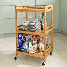 SoBuy® FKW15-N, 3 Tiers Bamboo Kitchen Serving Trolley Bathroom Shelf