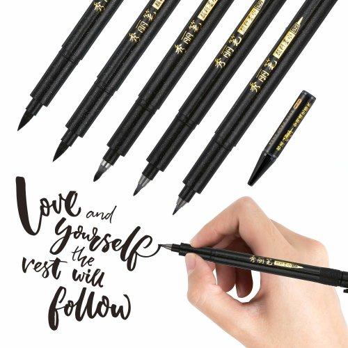 Refill Brush Calligraphy Pen for Lettering, 4 Sizes Black Brush Marker Pen Calligraphy Set for Beginners Writing, Signature, Illustration, Design...
