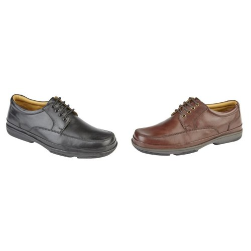 Roamers Mens Leather Wide Fit 4 Eye Deluxe Casual Shoes