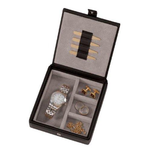 Royce Leather 927-BLACK-8-COM Watch Cufflink Box - Black