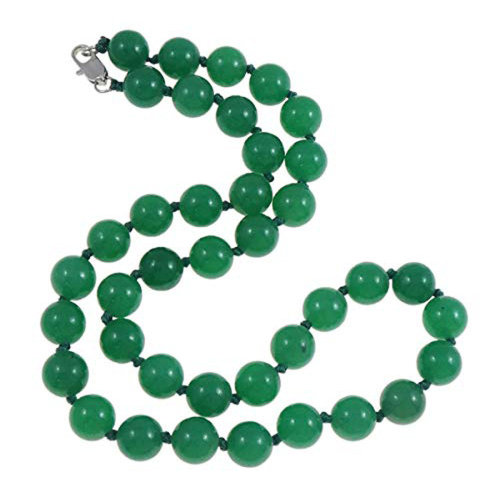 Stunning 10mm Natural Green Agate Gemstone Necklace