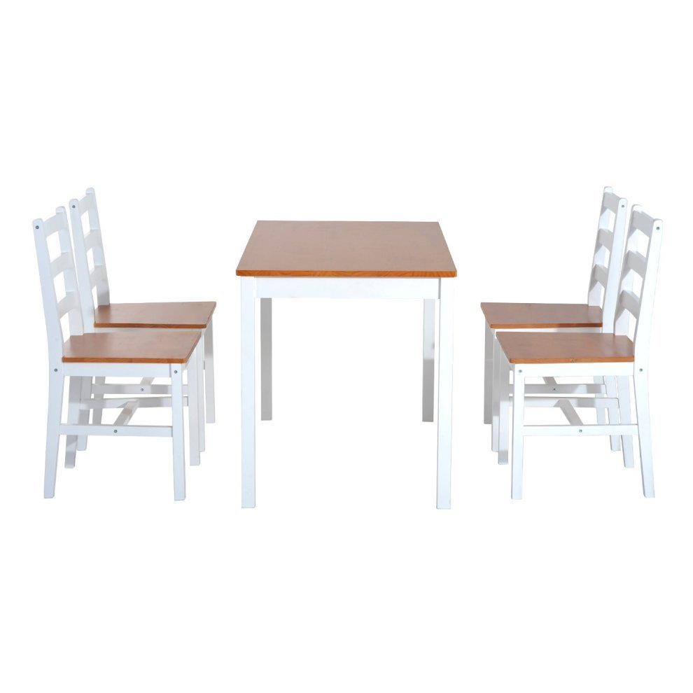 Modern 5pc Dining Table Set Kitchen Dinette Chairs: Homcom 5pc Dining Set 1 Table And 4 Chairs Solid Wood