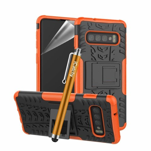 (Orange) For Samsung Galaxy S10 Tough Shockproof Case Cover
