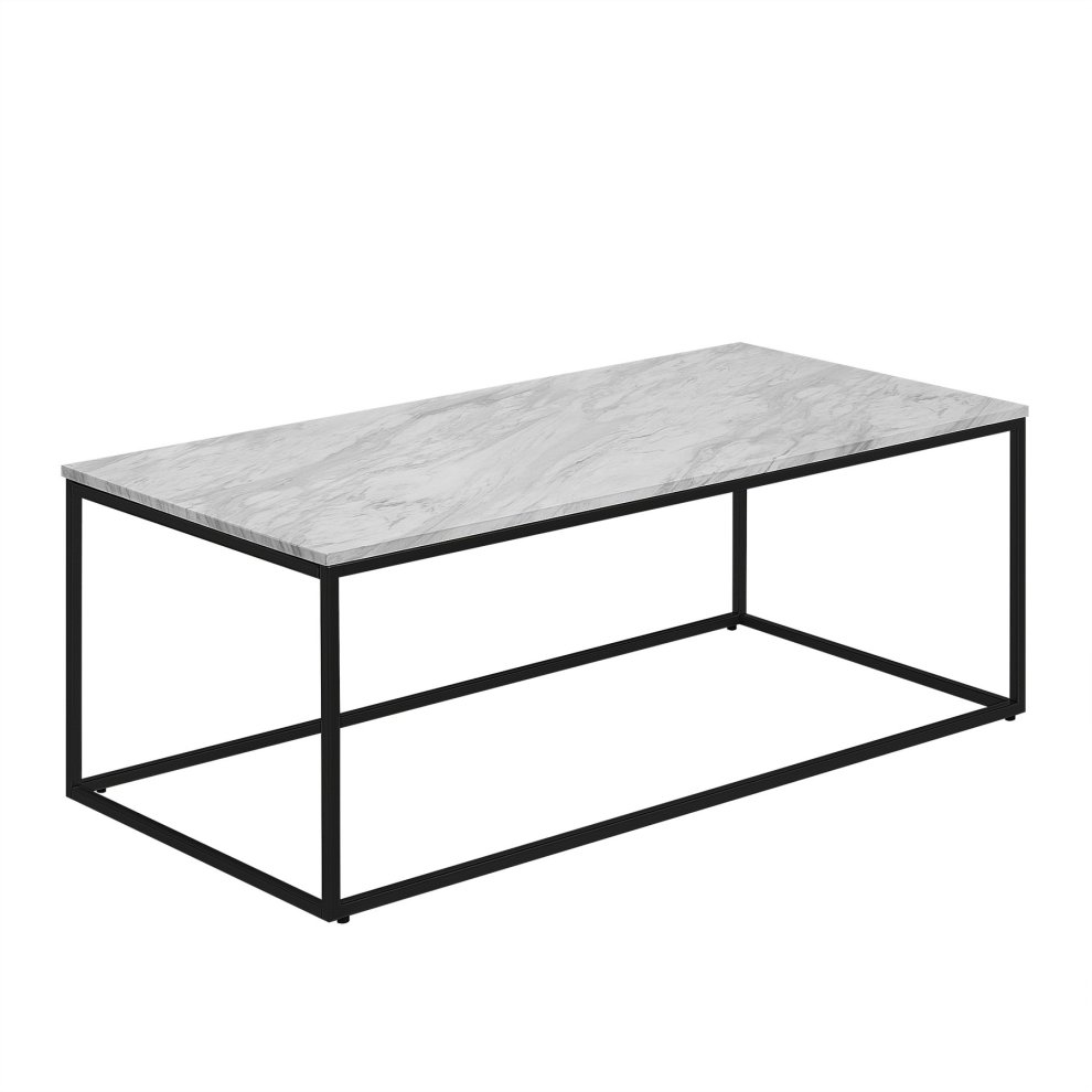 Coffee Table White Marble Effect With Black Delano