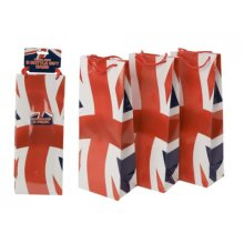 Pack Of 3 Union Jack Bottle Bags - Design Three British Flag Champagne Wine Bag - Union Jack Design Bottle Bags Pack Of Three British Flag Champagne