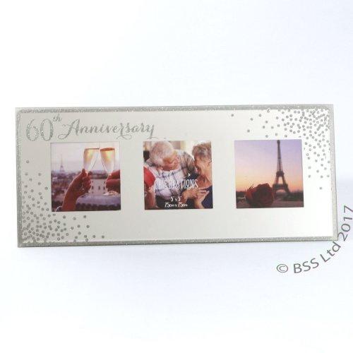 60th Anniversary Celebrations Sparkle Triple Photo Frame WG83560