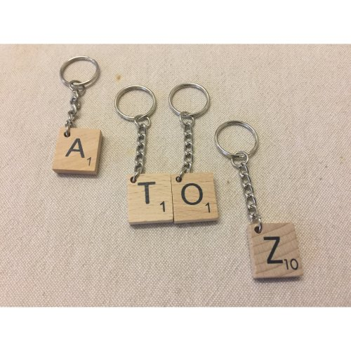 Handmade Wooden Scrabble Tile Keyring - Any Letter