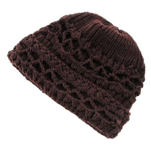 Womens Winter Comfortable Beanie Hat Warm Knitted Cap, Coffee