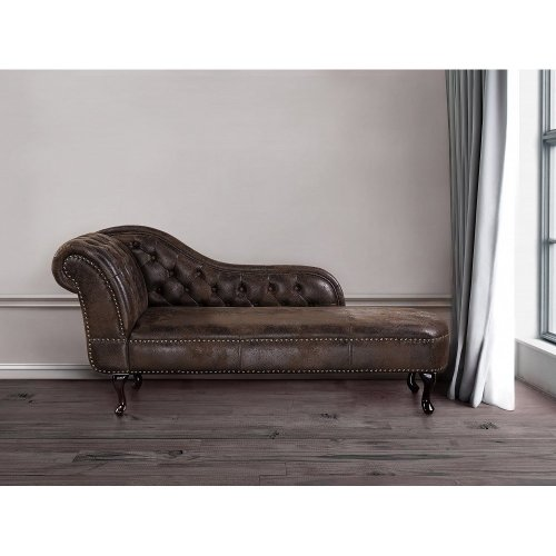 Chaise Longue -  Chesterfield - Right Hand Facing Chaise - Faux Suede - NIMES