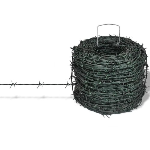 vidaXL Barbed Wire Entanglement Wire Green Wire Roll 100m Garden Fencing Coil