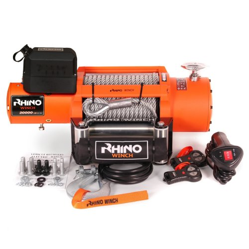 Rhino Electric Winch 12v Heavy Duty Recovery 20,000lb - Two Wireless Remotes