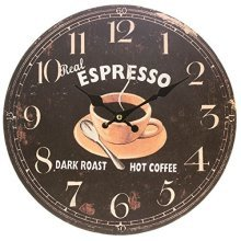 34cm Retro Style Espresso Coffee Wall Clock Home Kitchen Bedroom Time Display - -  shabby chic kitchen clock 34cm wooden retro dining wall designs