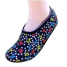 2 Pairs Flower and Dots Pattern Yoga Socks Closed Toe Non-Slip Sock for Lady