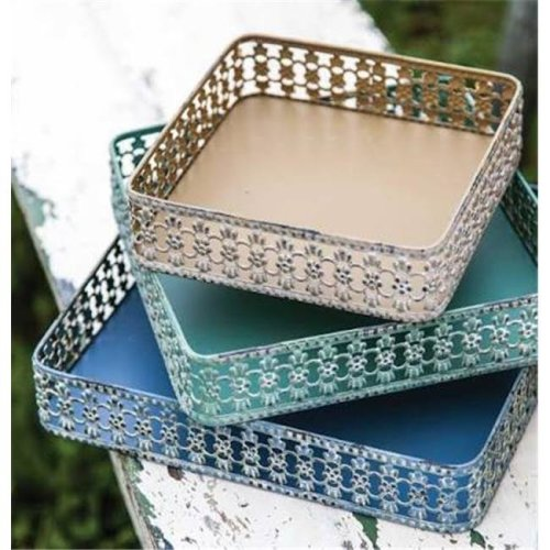 Manual Woodworkers & Weavers IMLUMT 10.75 x 10.75 x 2 in. Lucca Metal Tray - Set of 3