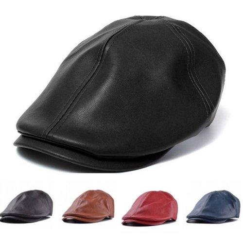 Unisex Artificial Leather Bonnet Newsboy Beret Cabbie Golf Hat Gentleman Cap For Men Women
