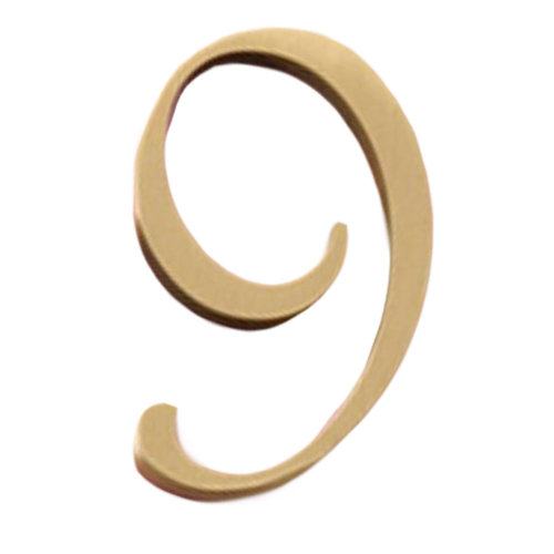 DIY Brass House Number Decorative Home Address Numbers Door Plate, 2 Pcs Number 9