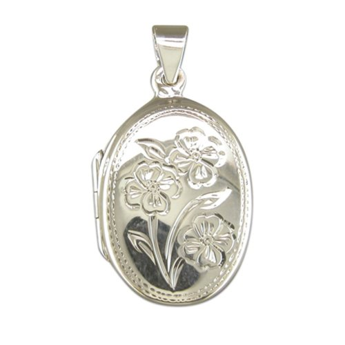 Childrens Sterling Silver Flower Pattern Oval Locket On A Curb Necklace