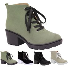 Women Block Chunky Heels Lace Up Ankle Boots
