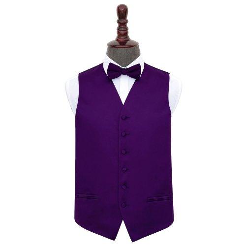 Purple Plain Satin Wedding Waistcoat & Bow Tie Set 44'