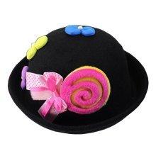 [Candy Black] Cute Baby Woolen Bowler Hat Children Bucket Hat