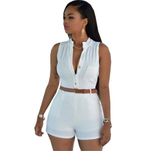 Summer Women Bodysuit Rompers Womens Jumpsuit Sexy Shorts Bodycon Sleeveless Jumpsuits With Belt Combinaison Femme Combiner