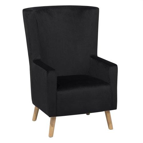 Velvet Wingback Chair Black ONEIDA
