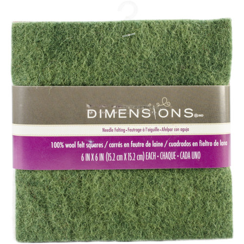 "Dimensions Feltworks Felt Bundle 6""X6"" 6/Pkg-Red, Green & White"