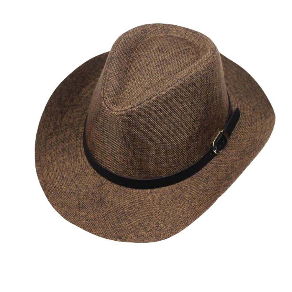 bceae44b1 Men's Outdoor Casual Structured Straw Fedora Hat With PU Leather Strap