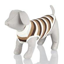 Trixie Hamilton Dog Pullover, Small, Brown/white Stripes - Pullover Warm -  trixie dog pullover hamilton warm stylish striped jumper beige brown