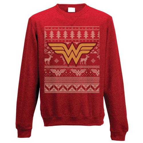 XXL Adult's Wonder Woman Christmas Jumper -  wonder woman crewneck sweatshirt fair isle logo jumper xxl adults dc comics superhero theme christmas