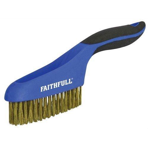 Faithfull FAISB164SB Scratch Brush Soft Grip 4 x 16 Row Brass
