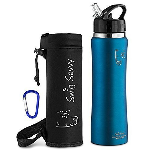 cf7611f4f6 SWIG SAVVY Stainless Steel Insulated Water Bottle Wide Mouth Double Wall  Design With Straw Flip Cap - Great For Kids - Sweat Proof - Including... on  OnBuy