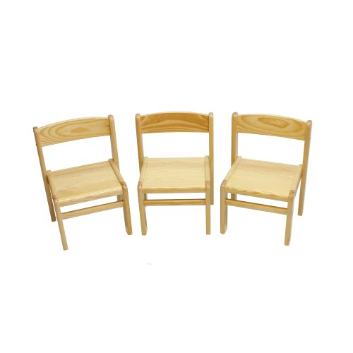 Obique Children's Furniture Solid Pine Wood 3 Chairs Natural Varnished
