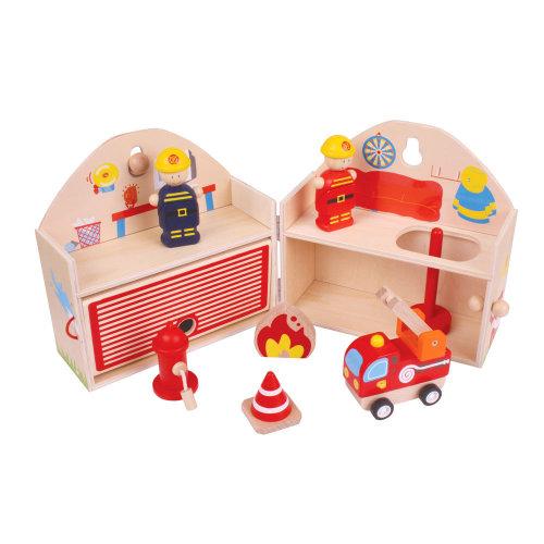 Bigjigs Toys Mini Fire Station Playset