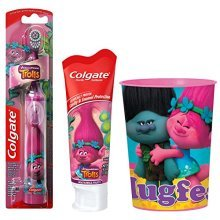 Trolls Poppy Kids Toothbrush Bundle: 3 Items  Powered Toothbrush, Mild Bubble Fruit Toothpaste, Kids Rinse Cup