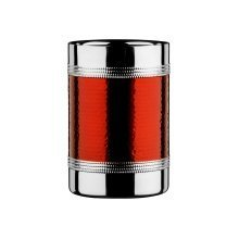 Bottle Cooler with Hammered Red Band - Stainless Steel